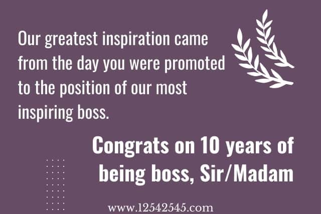 Job anniversary wishes to boss